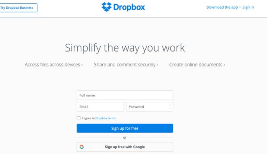 home page of Dropbox